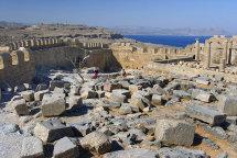 Interior of the Acropolis at Lindos. (b).