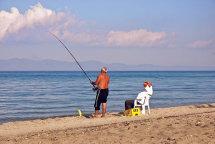 Locals Fishing on Hanioti Beach.