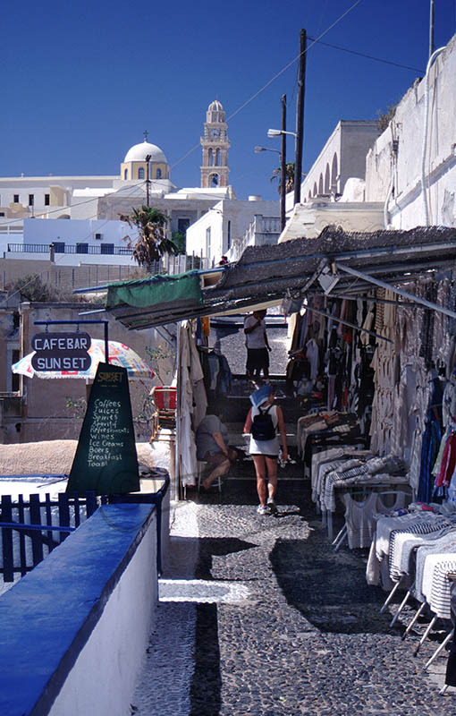 Shops and Churches, in Thira.