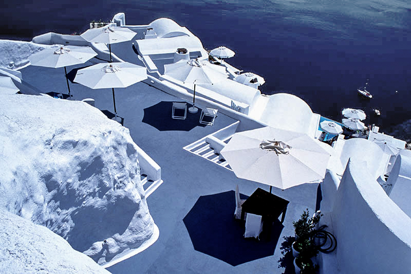 White umbrellas in Oia.