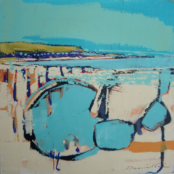 Blue pools, Towan beach - Oil on board - 19 x 19 cm £400