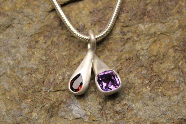 Crossover pendant amethyst and garnet £277