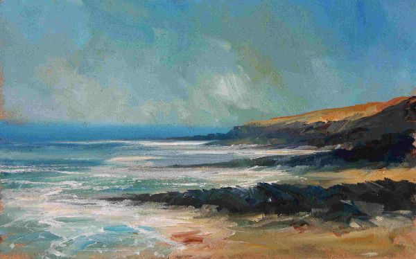Down the coast from Petersplash 41 x 31 cms inc frame £525