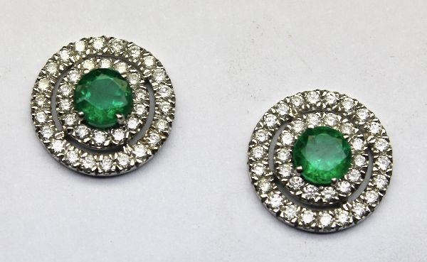 White Gold Emerald and Diamond Earrings £2500