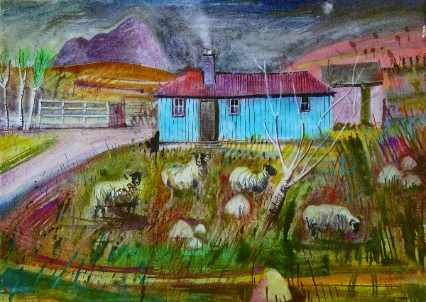 Fading Light and the Green Hut watercolour 22x31ins £2800