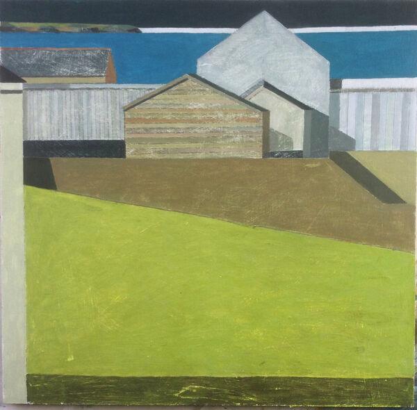 Farm buildings South Coast 64x64cm inc frame