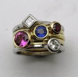 Gold Stacking Gem Set Rings.  Sold individually.