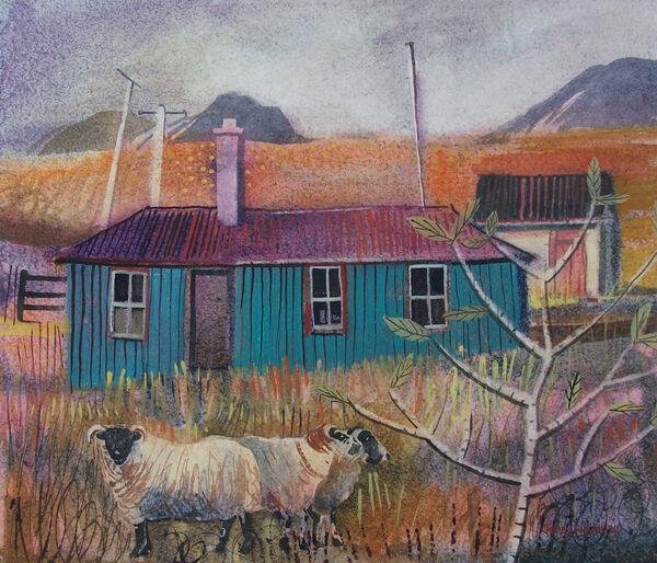 Green Hut Elphin Watercolour 68x63cm inc frame £2200