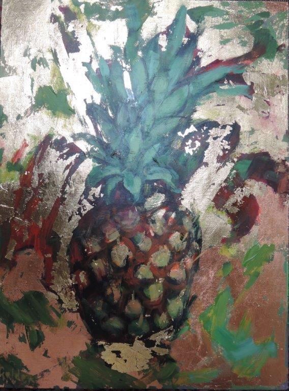 L Golden pineapple 77x60cm inc frame £800