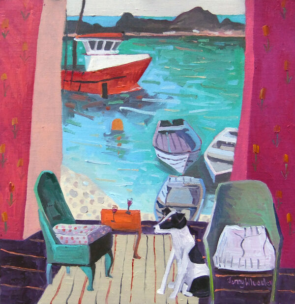 Moored for the Evening 55x55cm inc frame £1900