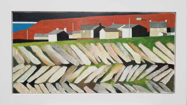 Old wall and houses 94x54 cm inc. frame £750