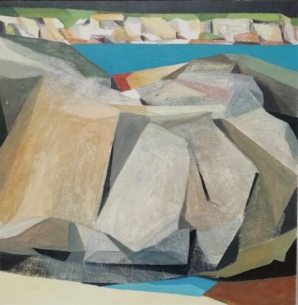 Rocks and cliffs 61x61cm inc. frame £700