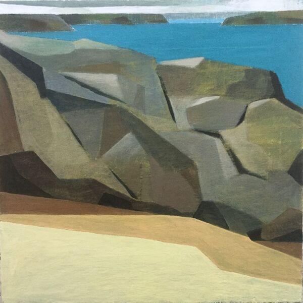 Rocks sea estuary 60x60cm inc,. frame £650