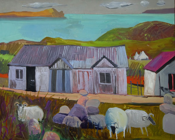 Sheep and Boulders on the Summer Isles 16x20ins exc frame £2400