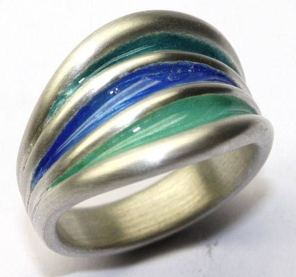 Silver Enamelled Ocean Templar Ring