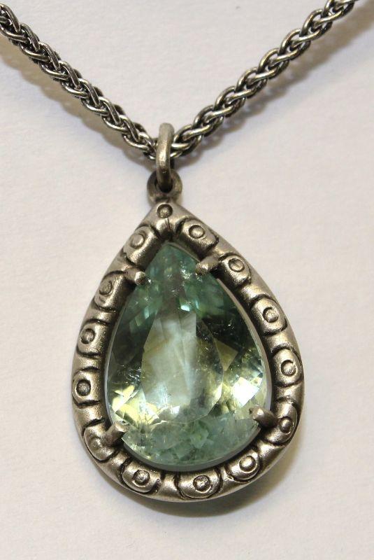Silver Mint Tourmaline Batik Necklace