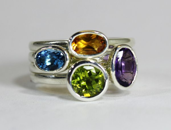 Silver stacking rings.  Blue Topaz £135 Peridot £140 Citrine £135 Amethyst £135