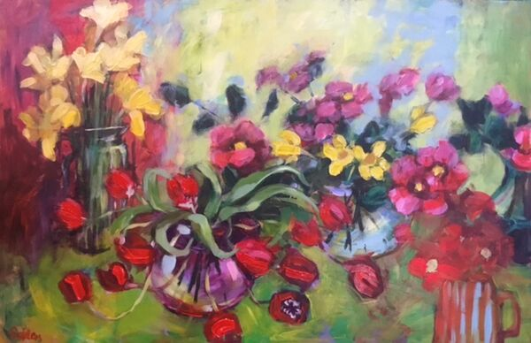Spring Flowers 119x83cm inc ornate frame £2500