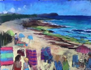 'Towan beachgoers' 86x70cm inc frame £950