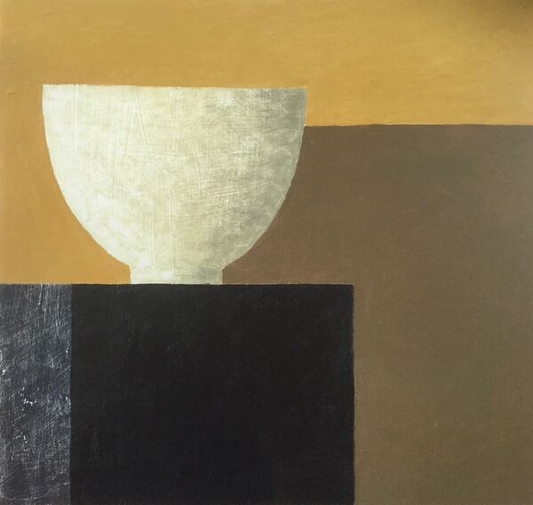 White bowl - brown white and gold 72x69cm inc frame £975