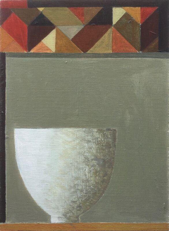 White bowl and grid pattern 33x40cm inc frame £425