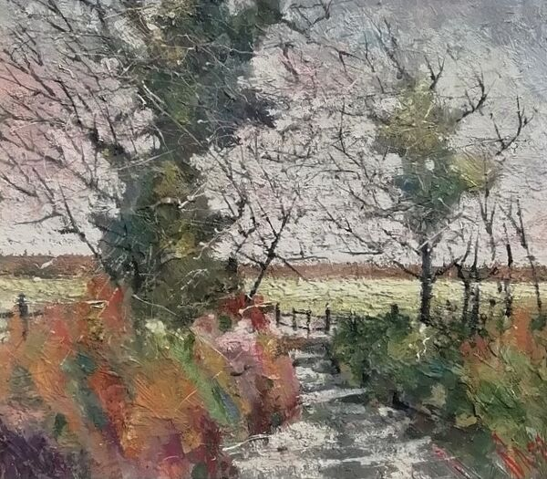 lane near Eden 38x40cm inc large frame £395