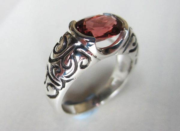 Pink Tourmaline Silver Scroll Ring £274