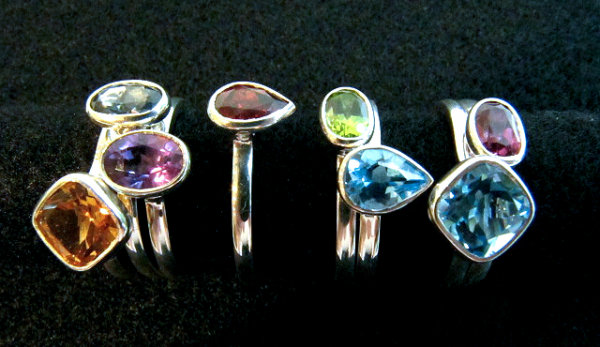 Silver and gemstone stack rings