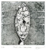 Pilot Gig - Salcombe - Copper plate etching