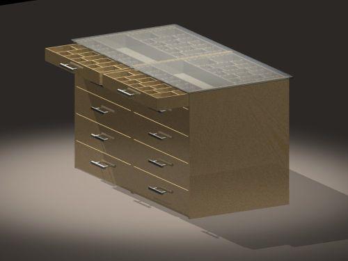 Storage Island (top drawers open)