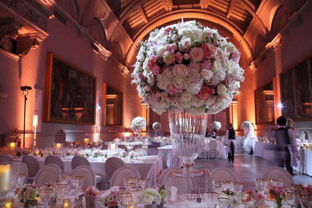 Pinstripes & Peonies wedding floral displays