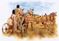 Egyptian chariot and harvest