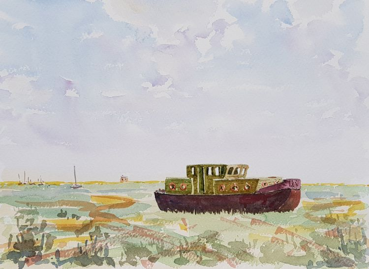 Old Fishing Boat off Blakeney Quay