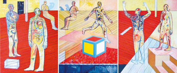hindsight, oil on canvas x 3, 76cm x 61cm, 2004