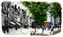 Broad Street, Reading - Past & Present - Mixed media