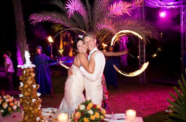 Morocco wedding couple hugging