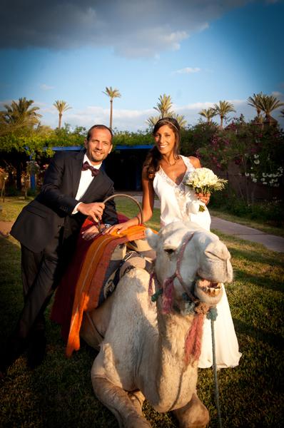 Wedding couple with camel Morocco