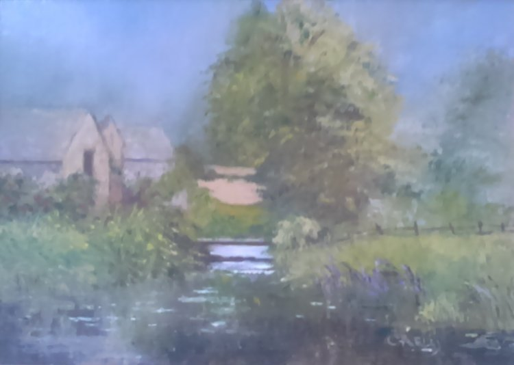 Cottage in the Costwolds. Oil painting by Carol Eley