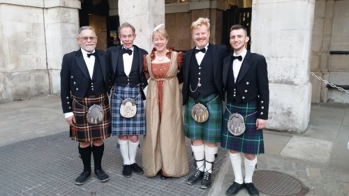 The Gay Gordons who danced in beating Retreat