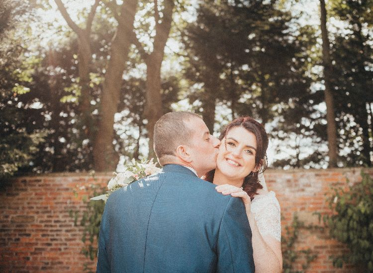 Bride and groom portrait at Hellaby Hall