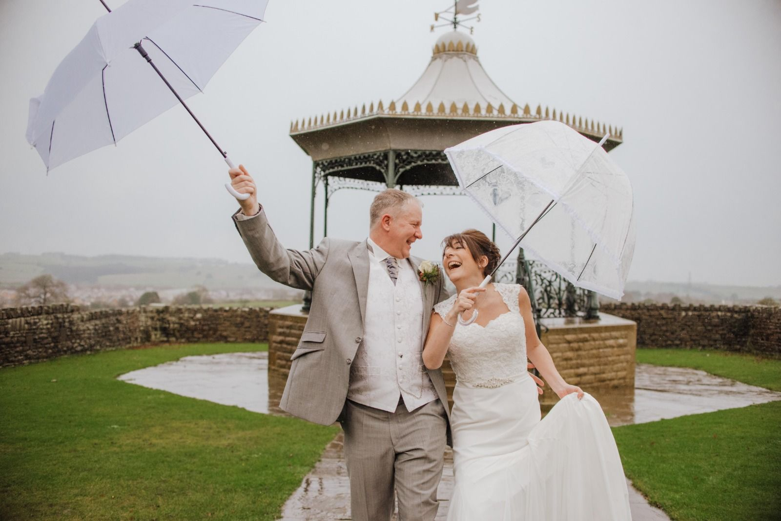 Rainy wedding day photography in Yorkshire