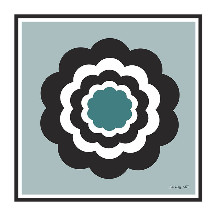 really retro flower (blue)