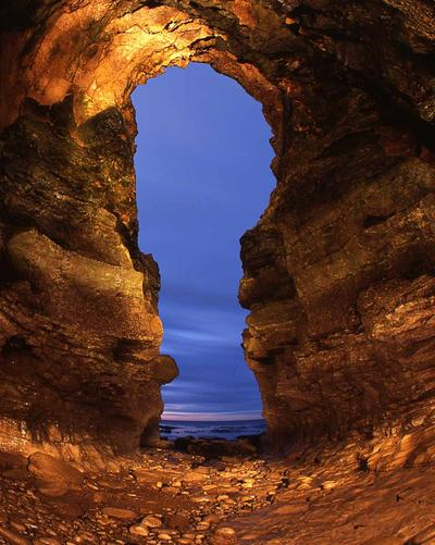 Through the Keyhole. Large cave at Whitburn, England