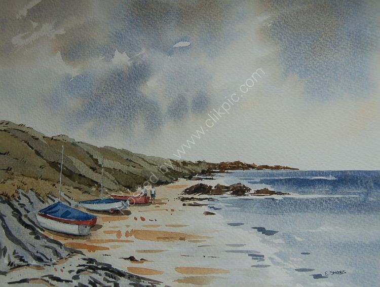 Beached boats at Traeth Penllech