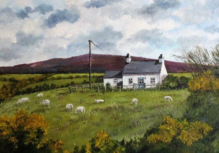 Cottage in Pengroeslon. Oil on canvas