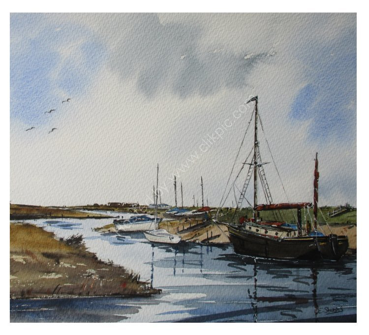 Moored boats on the Norfolk Coast (sold)