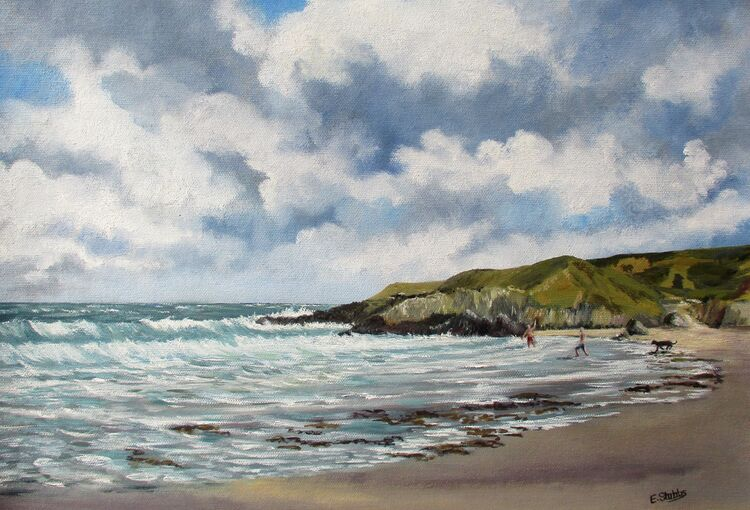 Whistling Sands - Porth Or - Oil Painting- Esther Stubbs (Sold)