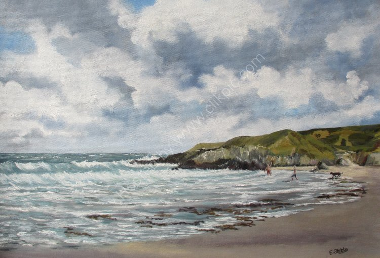 Whistling Sands - Porth Or - Oil Painting- Esther Stubbs