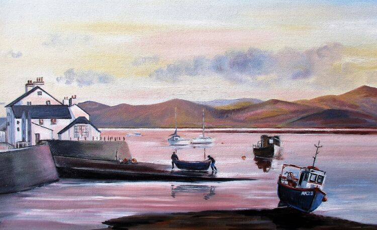 Sunset over Aberdovey Harbour. Oil