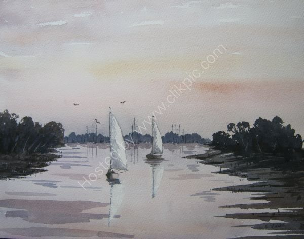 View from Dell Quay at Sunset. (Sold)